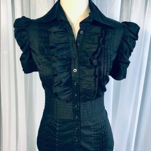Bebe Women's Black Ruffle Button Down Shirt Sz XS